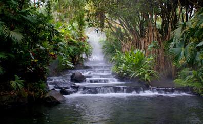 Baño en las aguas termales del volcán Arenal