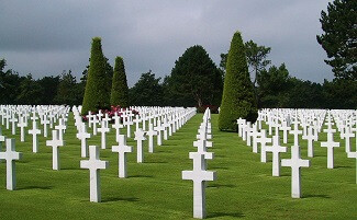 Facing the white crosses at Omaha Beach, Colleville-sur-Mer