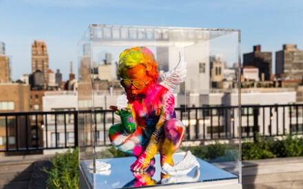 Jimmie Martin is exhibiting his Naughty Angels at the Surrey Hotel in New York.