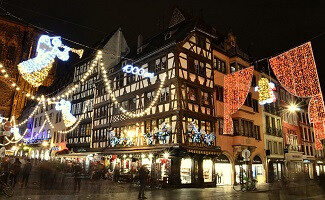 Under the great Christmas tree at the Christmas Market, Strasbourg