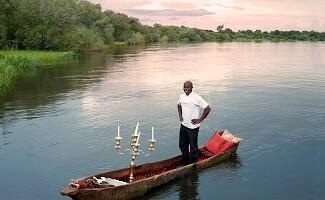 Zambezi River in a dugout canoe