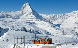 Gornergrat Mountain and its cog railway train