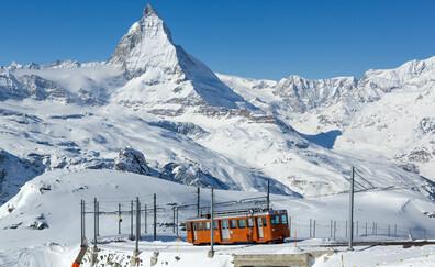Gornergrat Mountain and its cog railway train